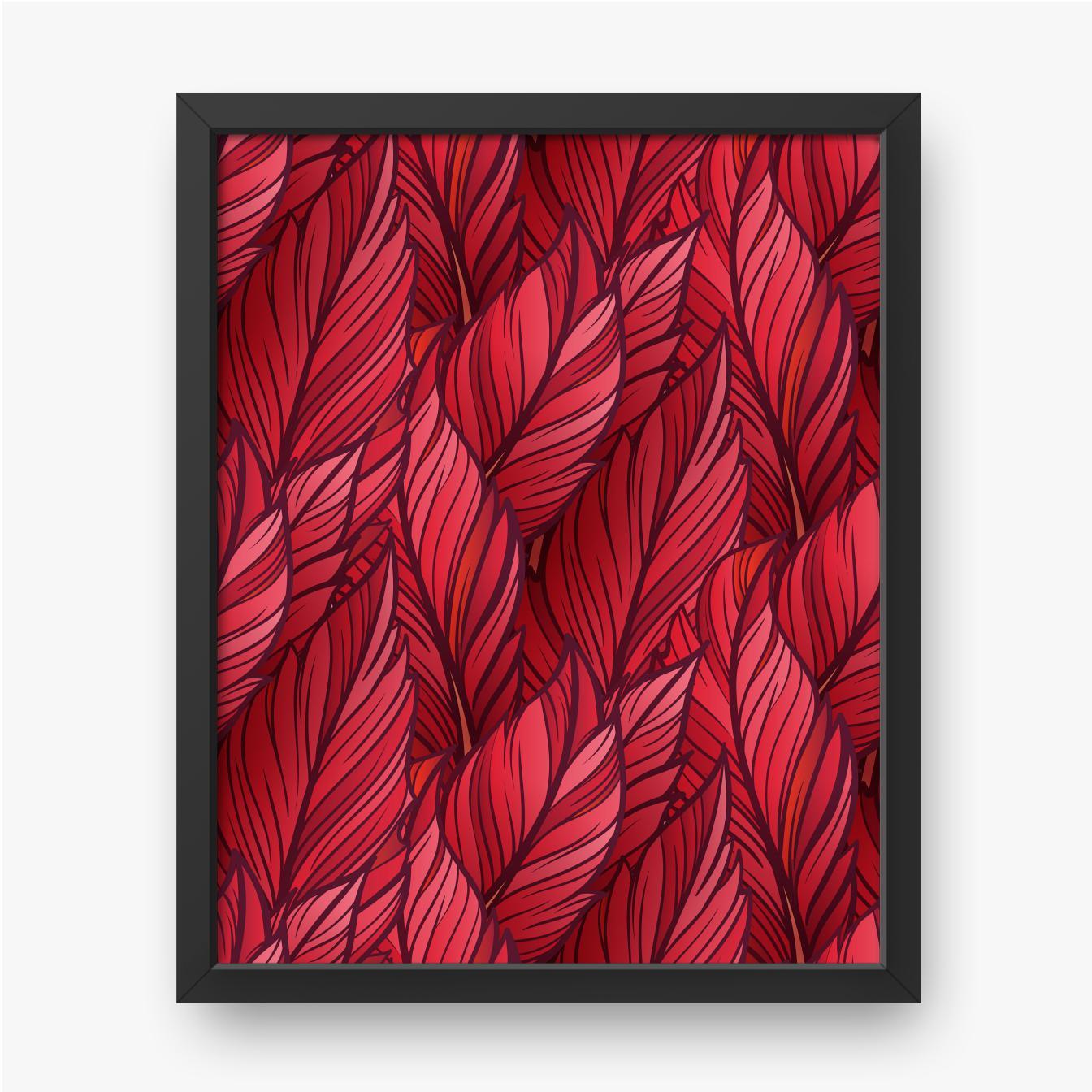 Czerwone jesienne liście ułożone jeden obok drugiego