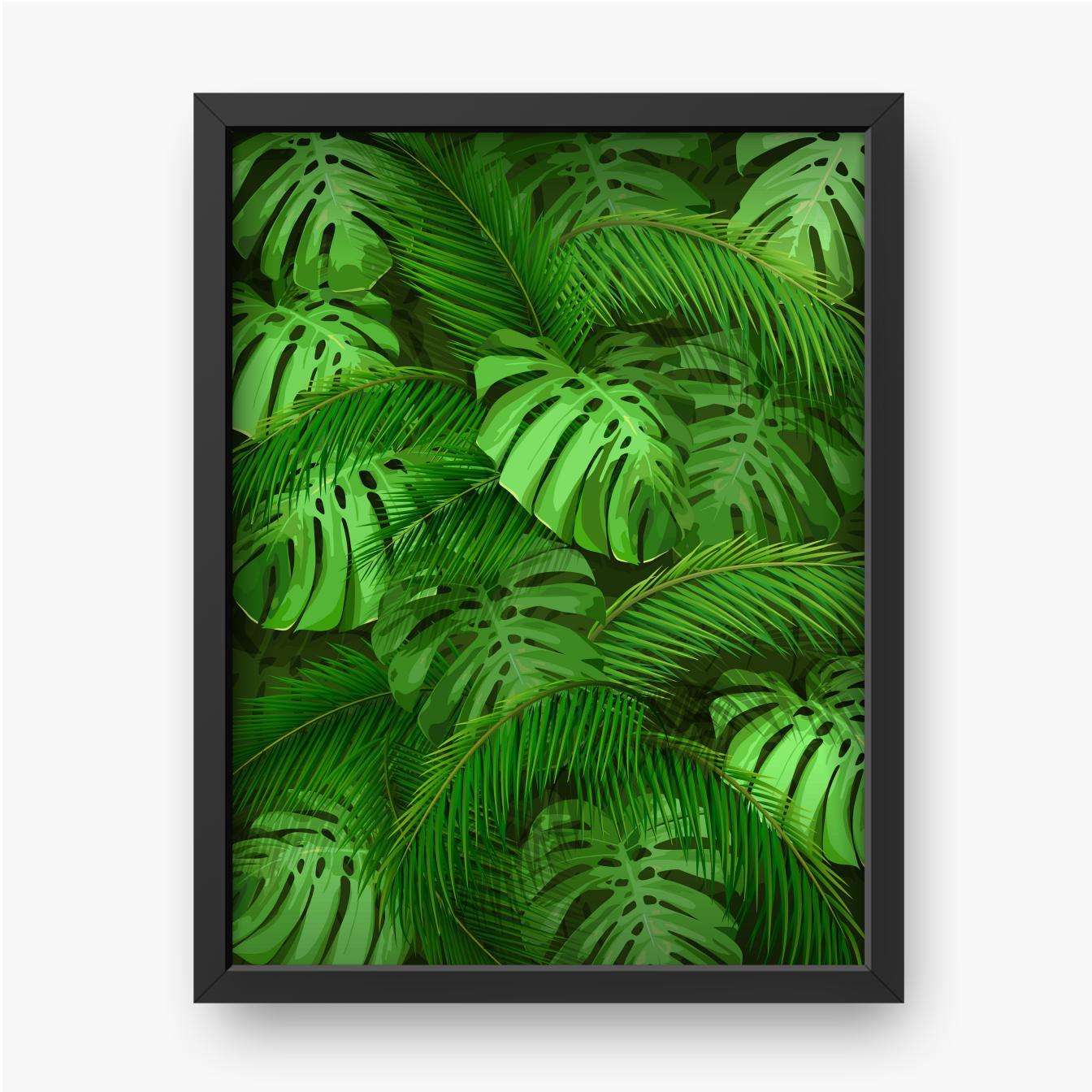 Liście zielonej palmy i monstery