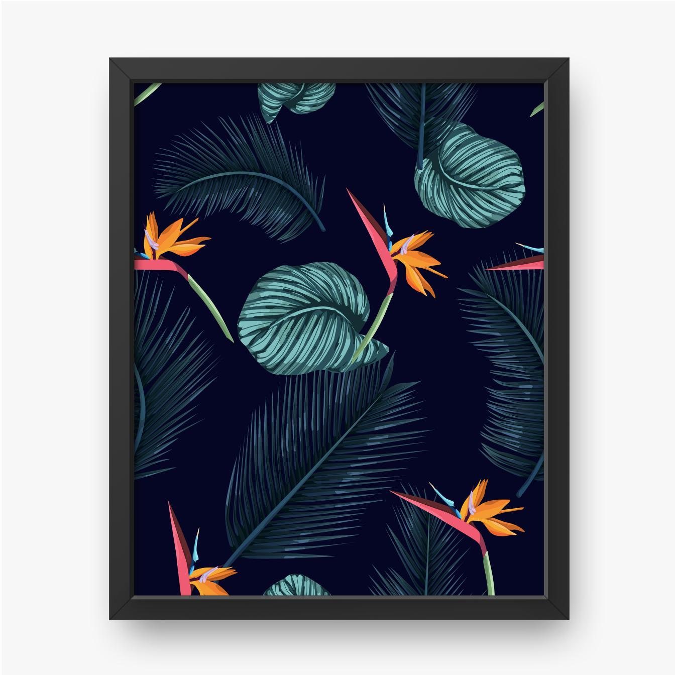 Tropische Blätter mit orangefarbenen Blüten