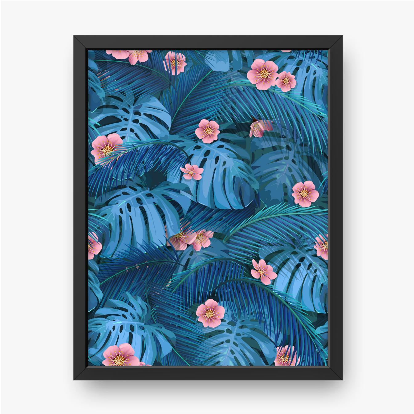 Rosa Blüten mit Blättern von Monstera und Bananenpalme