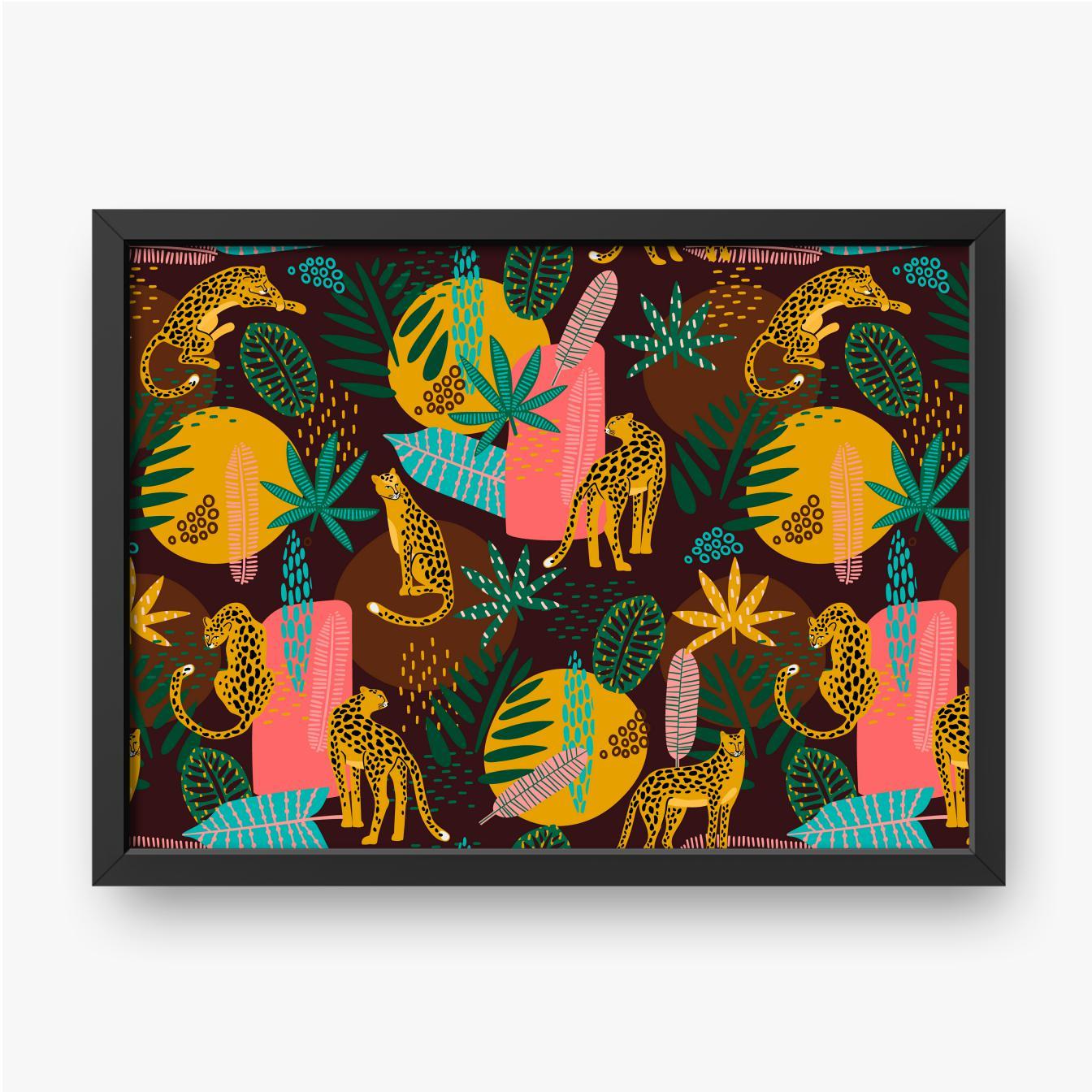 Leoparden und tropische Blätter