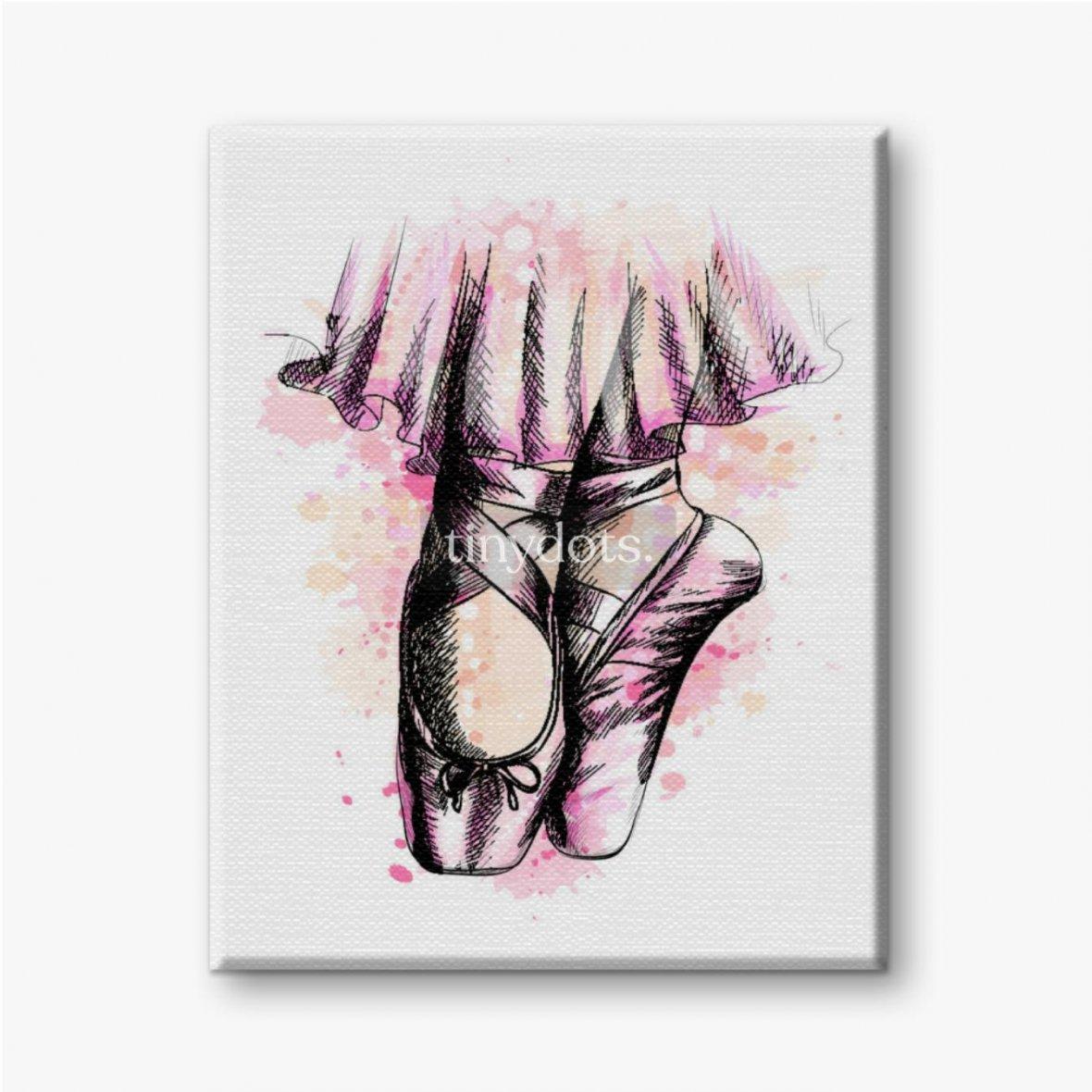 Leinwandbild Beine der Ballerina in Ballettschuhen aus einem Spritzer Aquarell