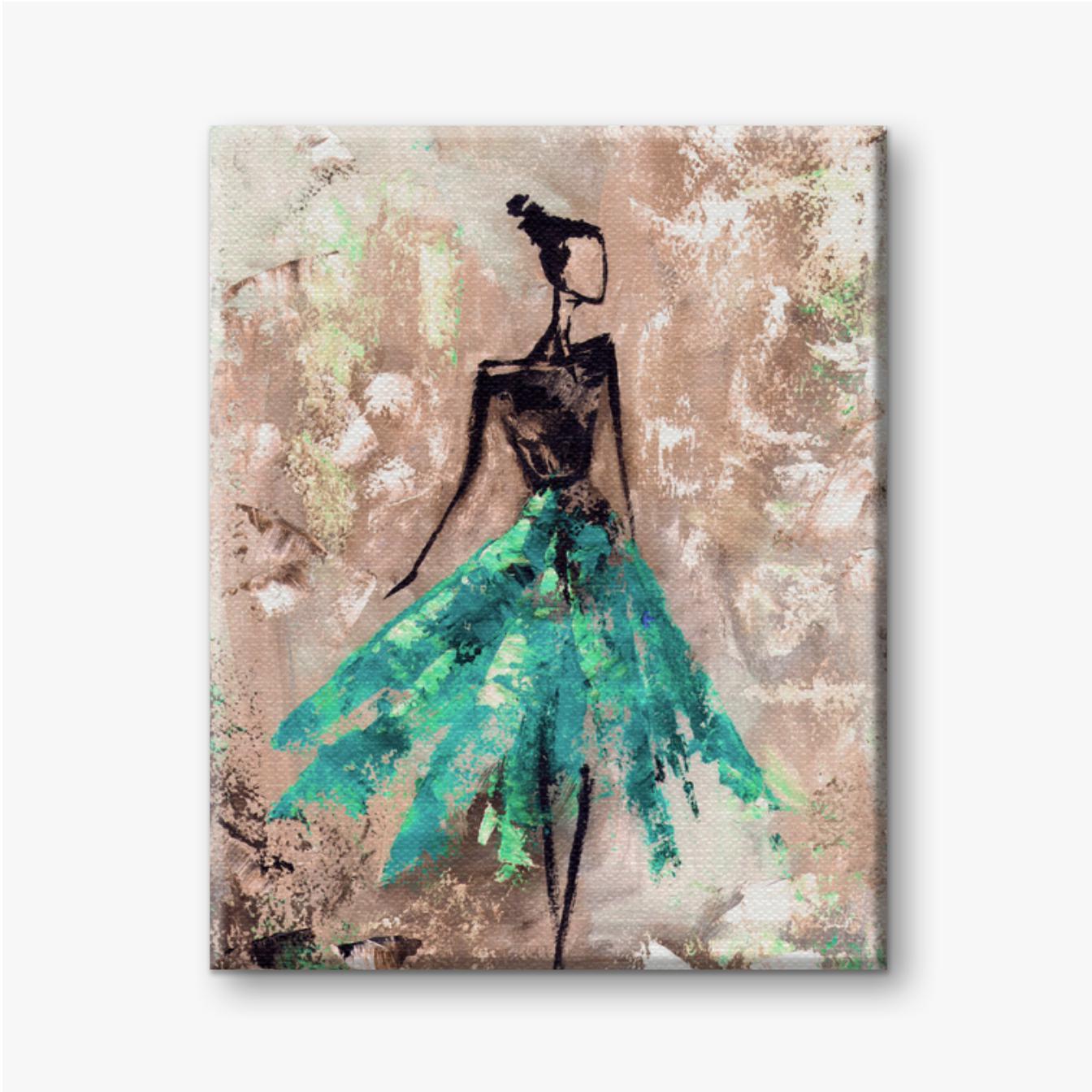 Abstrakte Frau im Kleid, Ballerina