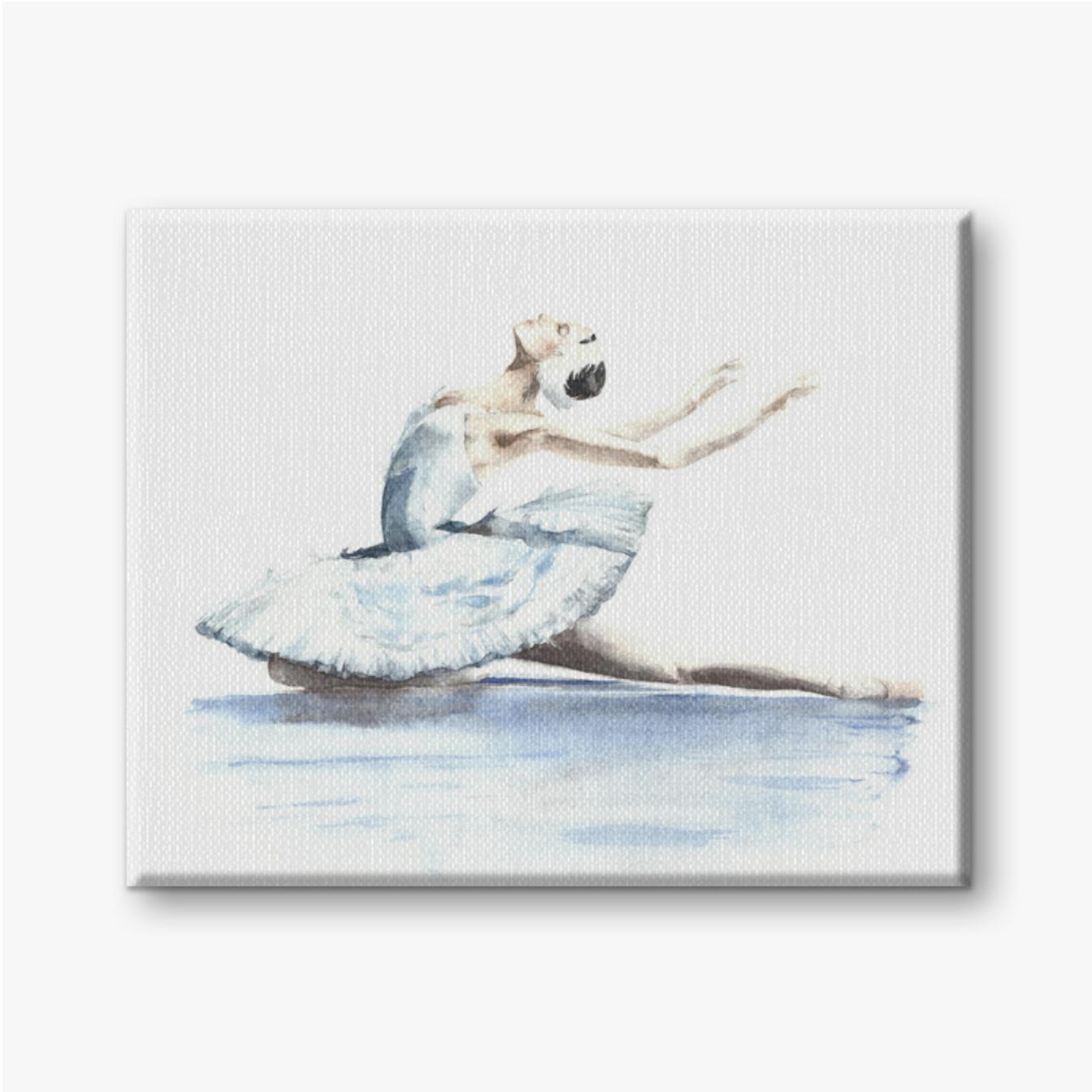 Weißer Schwan der Ballerina-Tänzerin, Schwanensee, der Schwanaquarell stirbt