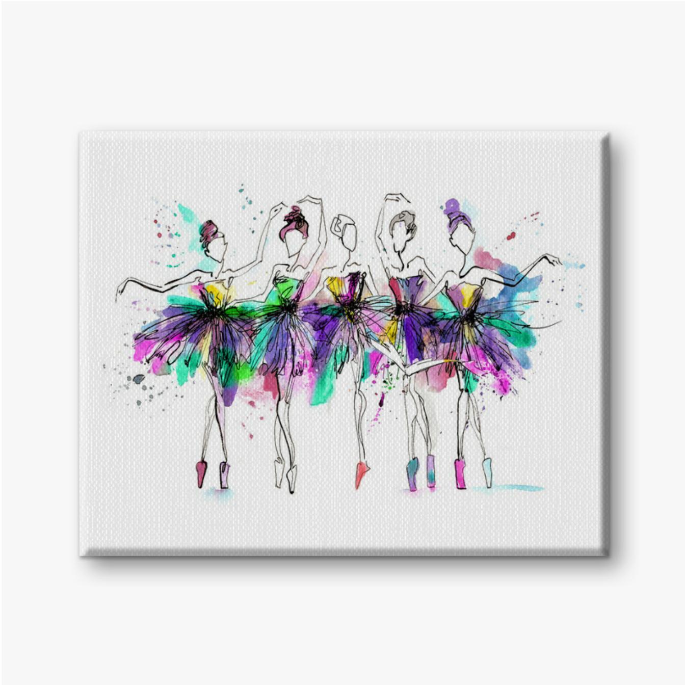 Aquarell-Silhouetten von Ballerinas. Helles Spray. Tanzen. Lichtblicke, Ballett Tutu. verschiedene Posen