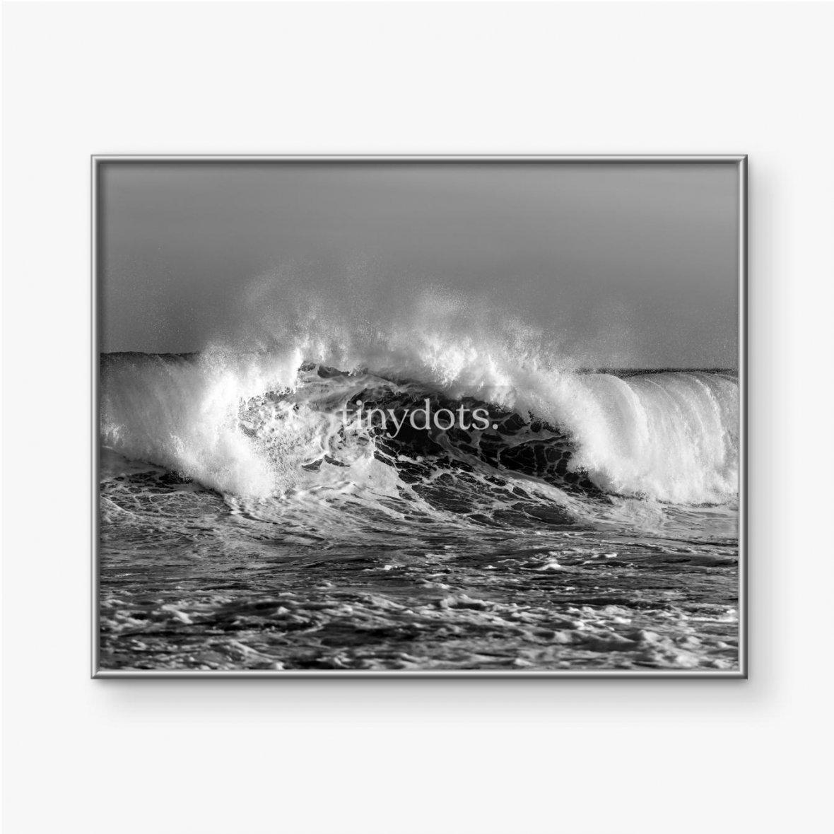 Gerahmtes Poster Schwarzweiss-Foto der Welle, Sydney Australien