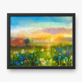 Ölgemälde blüht Löwenzahn, Kornblume, Gänseblümchen in Feldern, Sonnenuntergangswiesenlandschaft mit Wildblume